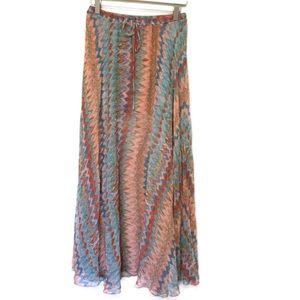 Haute Hippie Watercolor Printed Silk Maxi Skirt S